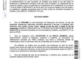 Bando municipal: UTILIZACIÓN DE BARBACOAS Y USOS DEL FUEGO (Bando nº4 2019)