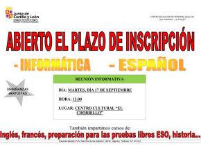 Clases de Educación de adultos en el municipio: informatica y español