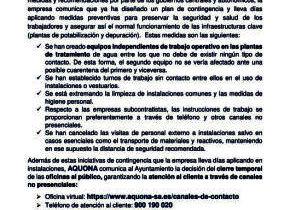NOTA INFORMATIVA DE AQUONA: MEDIDAS PREVENTIVAS PARA ASEGURAR LA CONTINUIDAD  DEL SUMINISTRO DE AGUA.