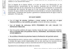 BANDO Nº 9/2020: CONSUMO RESPONSABLE DE AGUA