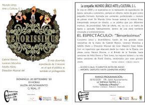 Tenorissimus, teatro cómico para público adulto de la Compañía Mundo Lírico Arte y Cultura, 20/09/2021 Ayuntamiento de Palazuelos de Eresma
