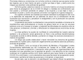 El pleno del Ayuntamiento aprueba una DECLARACIÓN INSTITUCIONAL CON MOTIVO DEL DÍA INTERNACIONAL DE LA ELIMINACIÓN DE LA VIOLENCIA CONTRA LA MUJER 25 de noviembre de 2020.