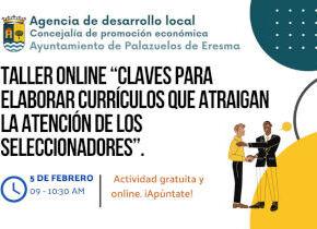 """Taller online gratis ?CLAVES PARA ELABORAR CURRICULOS QUE ATRAIGAN LA ATENCIÓN DE LOS SELECCIONADORES"""", Agencia de desarrollo local"""