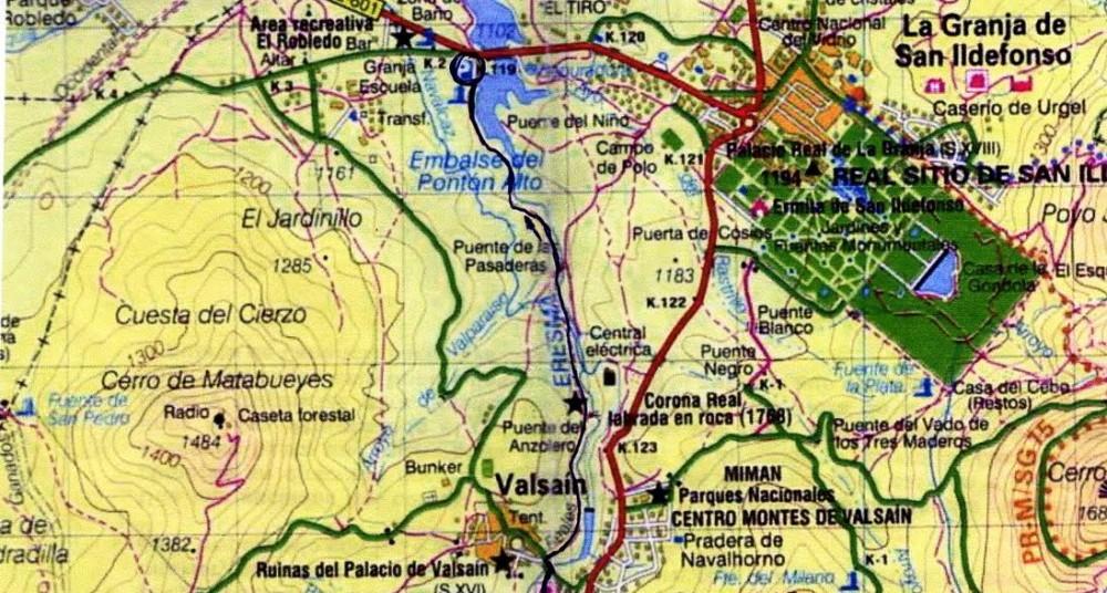 Desde el Pantano hasta Valsaín. Antes: Palazuelos-Presa del Pantano- circunvalación del Pantano