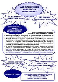 Las Asociaciones de mayores del municipio (Barrero y Rio Eresma) en colaboración con Crossfit Segovia ofrecen gimnasia de mantenimiento a mayores de 60 años