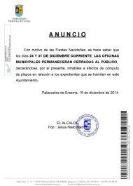 Anuncio: cerrado Ayuntamiento días 24 y 31 de Diciembre con motivo de las Fiestas Navideñas
