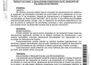 BASES DE CONVOCATORIA PARA LA CONCESIÓN DE SUBVENCIONES DE ÍNDOLE CULTURAL A ASOCIACIONES RADICADAS EN EL MUNICIPIO DE PALAZUELOS DE ERESMA