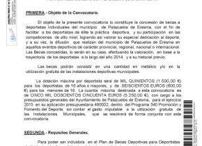 BASES REGULADORAS PARA LA CONCESIÓN DE BECAS A LOS DEPORTISTAS INDIVIDUALES DE ELITE DE PALAZUELOS DE ERESMA 2015