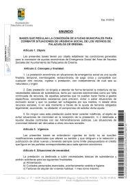 BASES QUE REGULAN LA CONCESIÓN DE AYUDAS MUNICIPALES PARA COMBATIR SITUACIONES DE URGENCIA SOCIAL DE LOS VECINOS DE PALAZUELOS DE ERESMA.