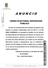 Anuncio exposición pública del Censo Electoral