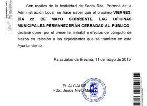 Anuncio: Viernes 22 de Mayo Oficinas Ayto. cerradas por festividad de Santa Rita.