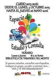 Desde el Jueves 8 de Octubre, abierto espacio de estudio y consulta (Biblioteca de Tabanera) tardes de lunes a jueves