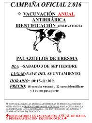 Vacunación antirrábica - campaña 2016 - Palazuelos de Eresma.