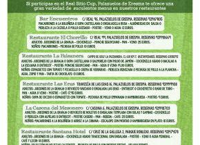 Menú del Futbolista, del 29 de abril al 2 de Mayo en los restaurantes del municipio