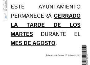 Este Ayuntamiento permanecerá cerrado los martes por la tarde durante todo el mes de agosto